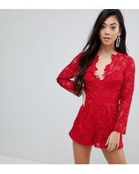 4e1a0e7d2ae ASOS Premium Lace Playsuit in Red - Lyst