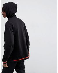 ASOS - Design Oversized Hoodie With Step Hem And Tipping In Black for Men - Lyst