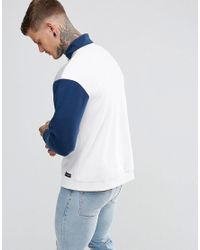 Hype - White Sweatshirt With Quarter Zip And Funnel Neck for Men - Lyst