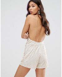 Motel - Natural Cami Playsuit With Scoop Back In Sequin - Lyst