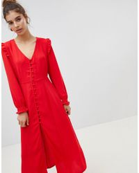 New Look Button Front Maxi Dress in Red - Lyst 41d6b5265