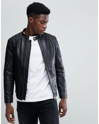 SELECTED - Black Leather Racer Jacket for Men - Lyst