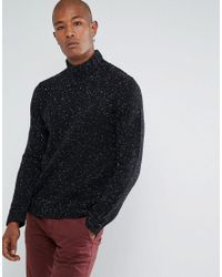 SELECTED - Black Knitted High Neck Jumper In Wool Mix With Fleck Detail for Men - Lyst
