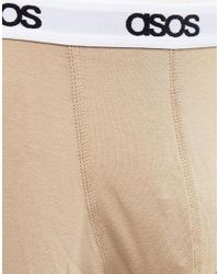 ASOS - Natural Trunks With Branded Waistband 3 Pack Save for Men - Lyst