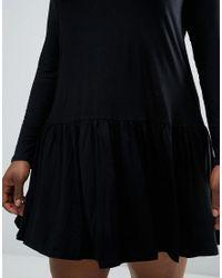 ASOS - Black Swing Dress With Frill Hem - Lyst