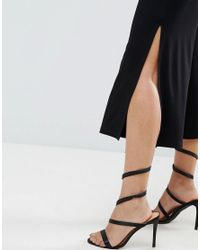 ASOS - Black Wide Leg Pants With Splits - Lyst