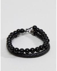 Simon Carter - Onyx Beaded Bracelet With Cross Charm & Black Leather Bracelet In 2 Pack for Men - Lyst