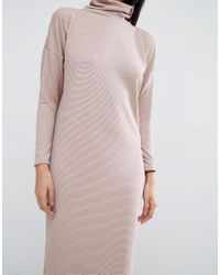 ASOS - Natural Polo Neck Midi Rib Slouch Dress - Lyst
