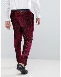 ASOS - Red Plus Super Skinny Tuxedo Suit Pants In Allover Burgundy Sequin for Men - Lyst