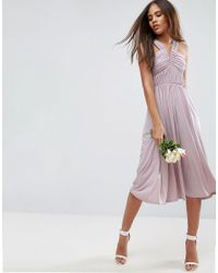 ASOS - Purple Wedding V Front Ruched Midi Dress - Lyst