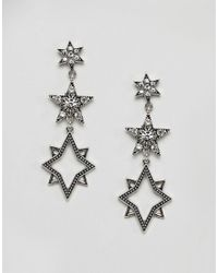 Orelia - Metallic Statement Multi Star Drop Earrings - Lyst