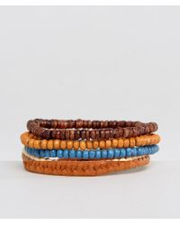 ASOS | Multicolor Beaded Bracelet Pack In Red And Brown for Men | Lyst