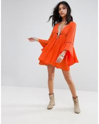 Free People - Orange Romeo Flared Sleeve Dress - Lyst