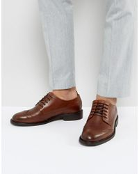 SELECTED - Brown Baxter Leather Brogue Shoes In Cognac for Men - Lyst