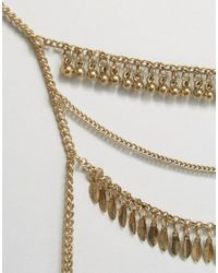 Pieces - Metallic Layering Chain Body Harness - Lyst