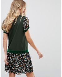 Anna Sui - Green Drop Waist Jersey Dress In Dandelion Medley Print - Lyst