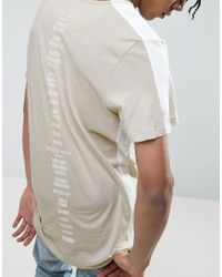 New Look - Multicolor Longline T-shirt With Back Print In Stone for Men - Lyst