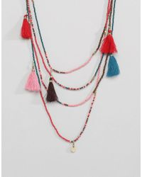 Pieces - Multicolor Layer Beaded Necklace With Tassles - Lyst