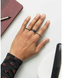 ASOS - Ring Pack In Matte Black for Men - Lyst