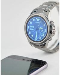 Emporio Armani - Black Connected Art5005 Bracelet Display Smart Watch In Gunmetal 46mm for Men - Lyst