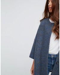 Helene Berman - Blue Wool Blend Kimono Bobble Knit Coat - Lyst