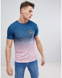 Hype - Muscle T-shirt In Blue Speckle Fade for Men - Lyst