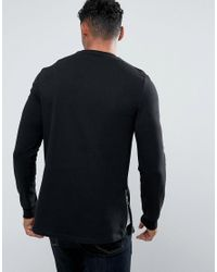 ASOS - Longline Muscle Fit Sweatshirt With Side Zip In Black for Men - Lyst