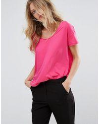 Mango - Pink Scoop T-shirt - Lyst