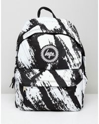 Lyst - Hype Backpack In Black With Brush Print in Black for Men a2ce05ed4c713