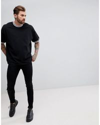 ASOS DESIGN - Black Oversized T-shirt With Contrast Tipping In Pique for Men - Lyst