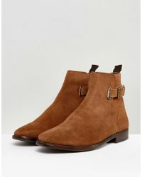 ASOS - Brown Asos Chelsea Boots In Tan Suede With Leather Panel And Strap Detail for Men - Lyst