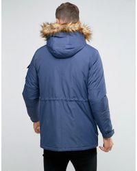ASOS Blue Parka Jacket With Faux Fur Trim In Navy for men