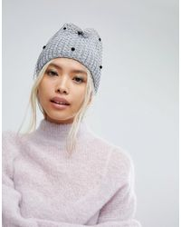 Helene Berman - Gray Ribbed Beanie With Veil - Lyst