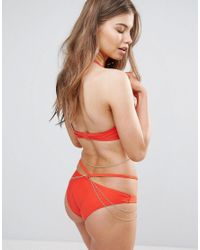 Wolf & Whistle - Red Hipster Bikini Bottom With Removable Chain - Lyst