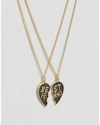 Monki - Metallic Best Friend Necklace - Lyst