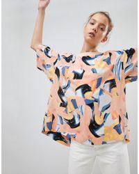 Weekday - Pink Printed T-shirt Top - Lyst