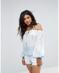 d7640ea429422 Lyst - Surf Gypsy Off Shoulder Beach Top in White