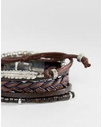 ASOS - Leather And Plaited Bracelet Pack With Feather In Brown for Men - Lyst
