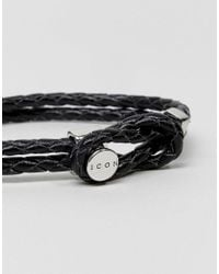 Icon Brand | Premium Woven Bracelet In Black for Men | Lyst