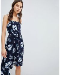 5eaec844bd Hollister Floral Print Midi Dress With Lace Detail in Blue - Lyst