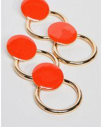 ASOS DESIGN - Orange Asos Disc & Hoop Link Earrings - Lyst