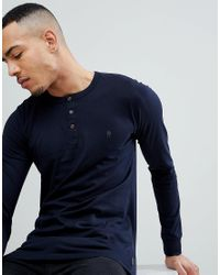 French Connection - Blue Tall Long Sleeve Henley for Men - Lyst