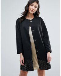 Traffic People - Black Straight Coat With Jacquard Hem - Lyst