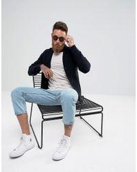SELECTED Blue Shawl Collar Cardigan for men
