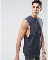 d45dc137a7e0b Lyst - Asos Sleeveless T-shirt With Dropped Armhole In Gray in Gray ...