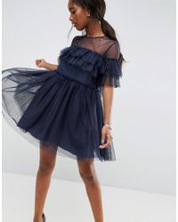 ASOS - Blue Asos Tulle Ruffle Mini Dress - Lyst
