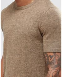 ASOS - Brown Longline Knitted T-shirt In Tan Twist for Men - Lyst