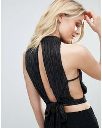 Love - Black Pleated High Neck Top - Lyst