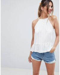 ASOS - White Design Trapeze Top In Crinkle - Lyst