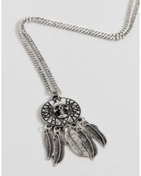 Reclaimed (vintage) - Metallic Inspired Necklace With Coin And Feather Pendants In Silver Exclusive At Asos for Men - Lyst